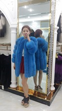 Fur fox fur coat 2016 fashion design high quality long fur overcoat
