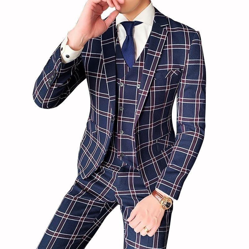Autumn Vintage Plaid Suits Vintage Suits Mens Dinner Jackets Mens Suits British Style Terno Slim Fit 3-piece Set Terno Masculino