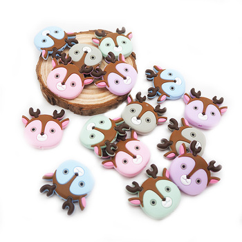 Chenkai 5PCS BPA Free Silicone Deer Head Bead Baby Teething Nacklace Beads For Chewable Dummy Cartoon Pacifier Accessories