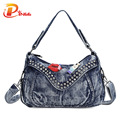 Women Fashion Bags Famous Brand Ladies Denim Handbag Small Crossbody Bag for Women Casual Motorcycle Bag