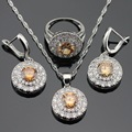 Silver Color Jewelry Sets For Women Round Yellow Cubic Zirconia  Necklace Pendant Drop Earrings Rings Christams Free Gift Box