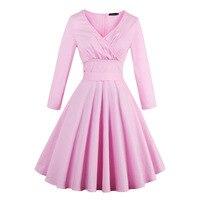 Di lusso delle donne pin up abito rosa sexy primavera designer belt ginocchio-Lunghezza di A-Line Solid Cotton Ragazza Normale Vestiti Da partito Del Merletto V collo