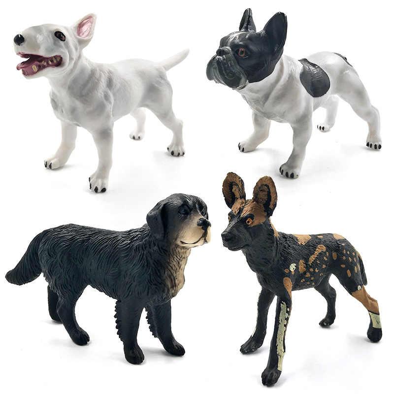 Bulldog Bull Terrier Labrador dálmata Cão husky Siberiano Modelo Animal figuras estatuetas para casa decoração Presente Para As Crianças Crianças brinquedos