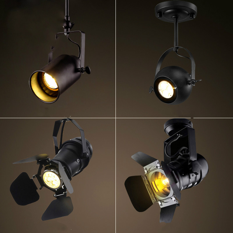 Loft American LED industrial pendant light black clothing store bar cafe creative personality retro lamp vintage lighting