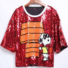 European style women's short sleeves T-shirts NEW 2019 summer loose sequins bling bling Tee Tops A328