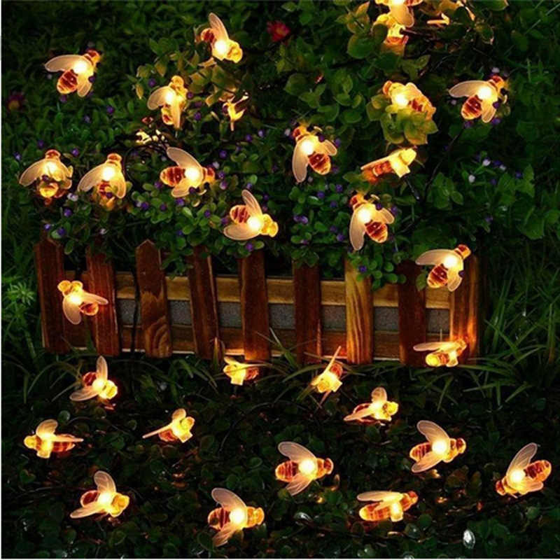10 LED 20 Le DS 30 LED 40 LED Honey Bee Lampu String LED Tahan Air Luar Ruangan Teras Taman Pagar Gazebo Cahaya untuk Pesta Natal
