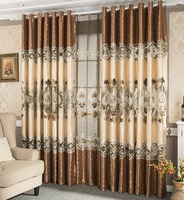 High-grade Embroidery Curtains European Gold Shading Vertical Blinds American Living Room Screens Customized Products E