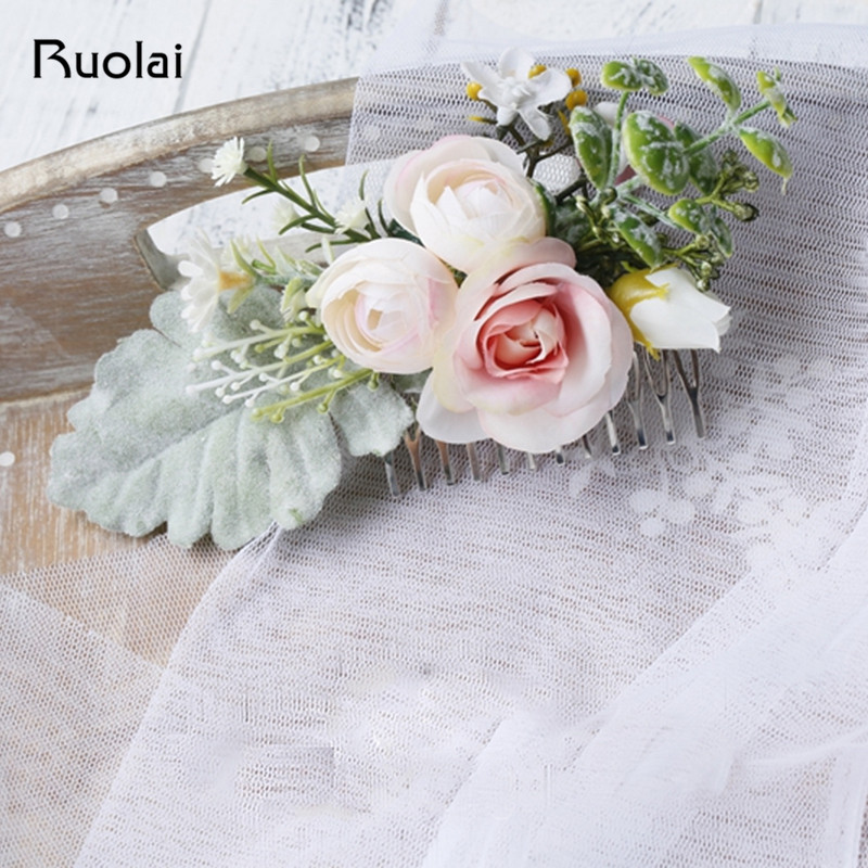 Elegant Wedding Headwear Bridal Accessories Rose Hair Comb 2 Colors Wedding Headpieces Fashion Hair Styles HD2