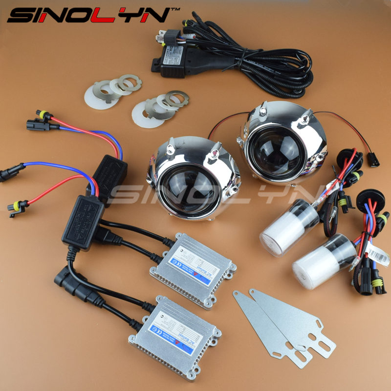 SINOLYN Car Styling Full Metal 2.5 inches Leader HID Bixenon Projector Lens Headlight Headlamp Lenses w/GTI Shrouds Retrofit Kit sinolyn led angel eyes car projector lens hid bixenon headlight devil evil eyes headlamp retrofit kit for car motorcycle styling