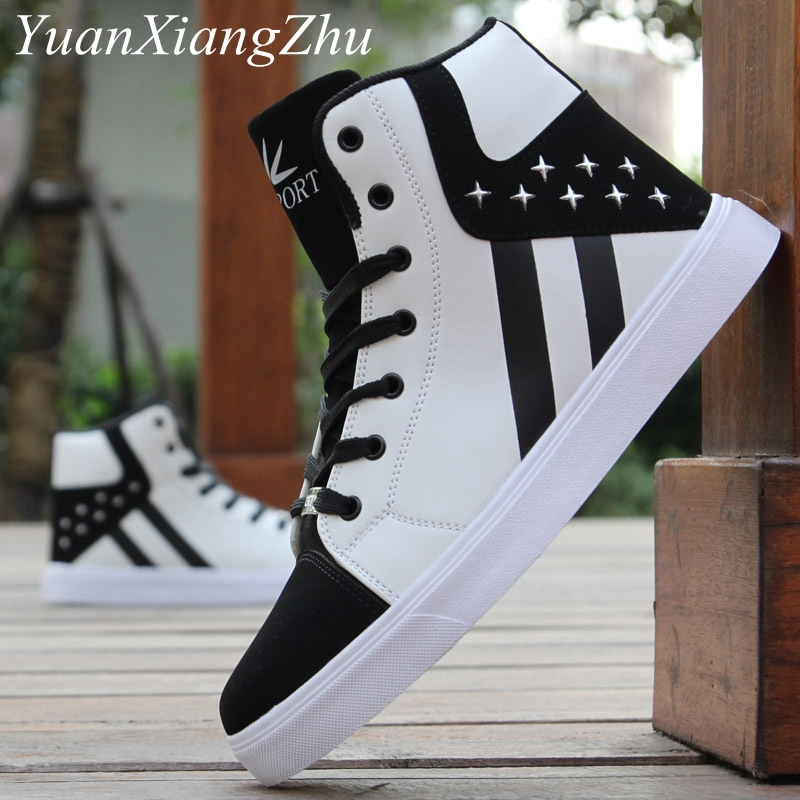 Fashion Men Casual Shoes Hip-hop High Help Men Shoes 2018 New Lace-Up Casual Ankle Boots Comfortable Superstar Adult Male Shoes new help in basketball shoes hip hop sports running shoes