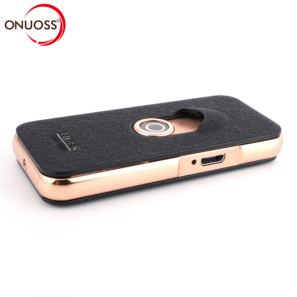 ONUOSS USB Rechargeable Windproof Cigarette Lighters Tiger Authorization Fidget Spinner Flameless Electric Plasma Lighter USB