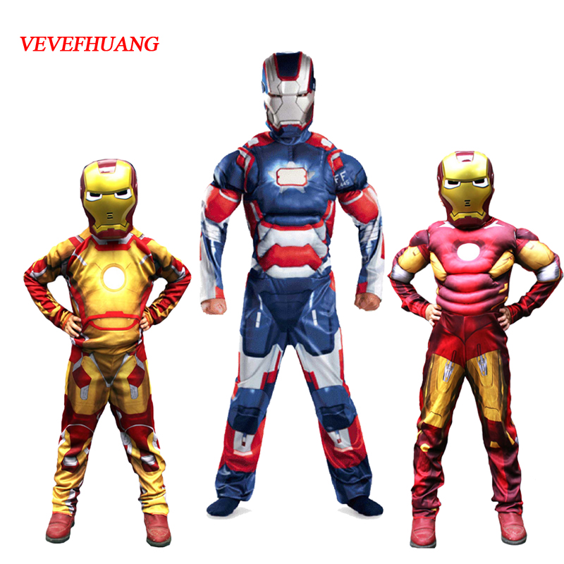 VEVEFHUANG Cosplay Costume Iron Man Costume Fancy Dress Costumes For Kids Ironman Halloween Costumes For Children Avengers Boys