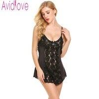 Avidlove 2018 New Summer Nightgown Women Sexy V Neck Floral Lace Satin Sleepwear Female Hollow Short