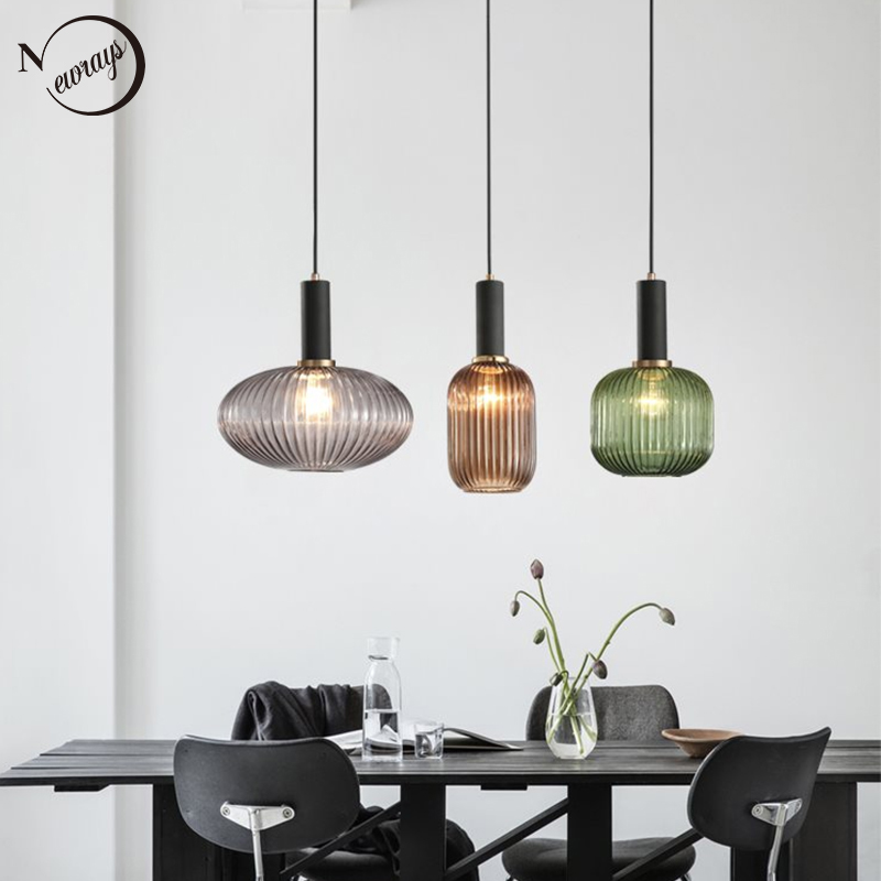 Nordic creative retro pleated effect glass E27 LED pendant light for kitchen living room bedroom bathroom study restaurant hotel|Pendant Lights| |  - title=
