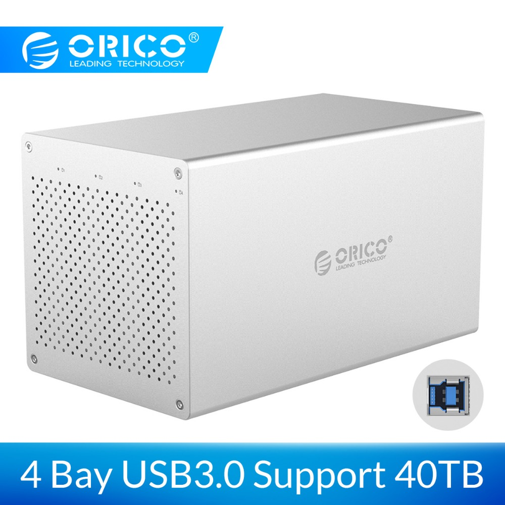ORICO 4 Bay SATA To USB 3.0 Hard Drive Enclosure Aluminum Alloy Support 40TB Storage 5Gbps 12V Power Adapter USB3.0 HDD Case