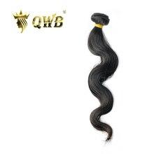 QWB extensiones de cabello humano brasileño virgen, Combinación libre de ondas corporales de 12 ~ 28, relación profesional, Color natural, 100%