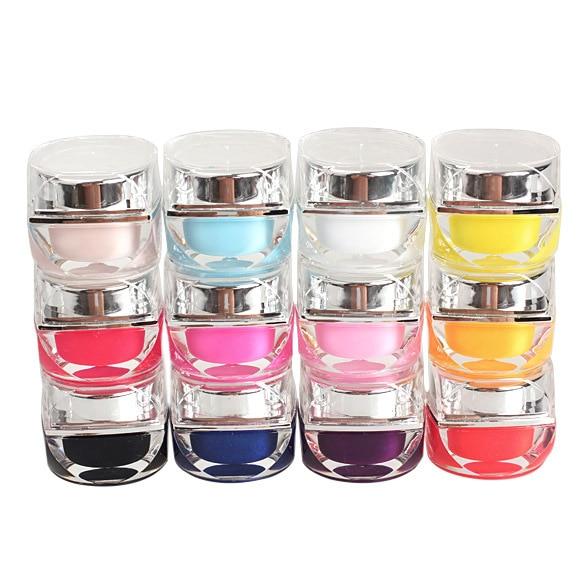 12PCS Nail Art Glaze UV Gel Pure UV Builder Set Nail Art False Full French Tips Salon Set Solid Colour