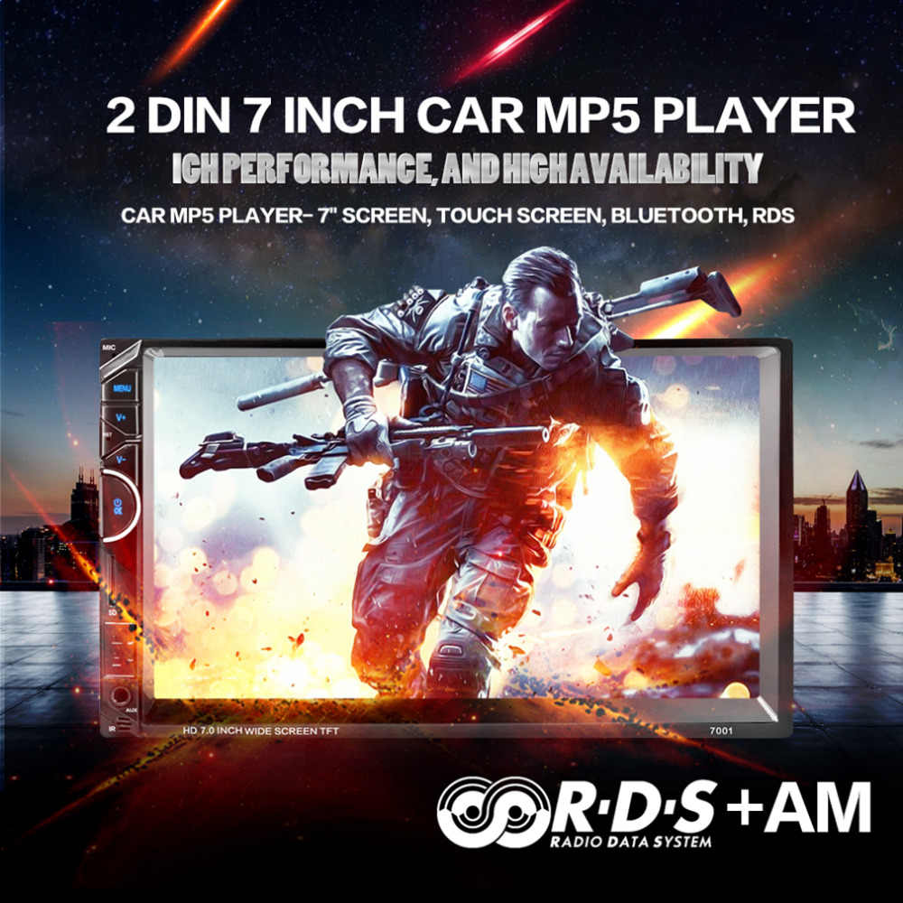 """7001 7 """"Bluetooth автомобильный радиоприемник видео MP5 игрока авторадио FM AUX USB SD 7001 HD 1080 P Сенсорный экран с AM + RDS музыка видеоплеера"""