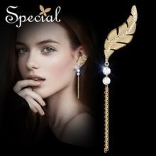 Special New Fashion Gold-plated Stud Earring Single Leaf Earrings Long Tassle Earrings for Girls Women Left Ear ED150913 плед left ear