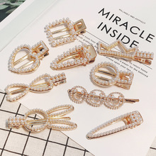 Fashion womens jewelry  New hairdressing pearl water drill hairpin alloy duckbill Clip Gift wholesale