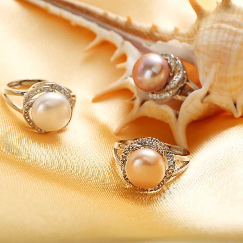Big Giảm Giá 925 sterling bạc trang sức on sale big nhẫn ngọc trai tự nhiên cho phụ nữ đá vòng điều chỉnh trắng/hồng/tím ngọc trai