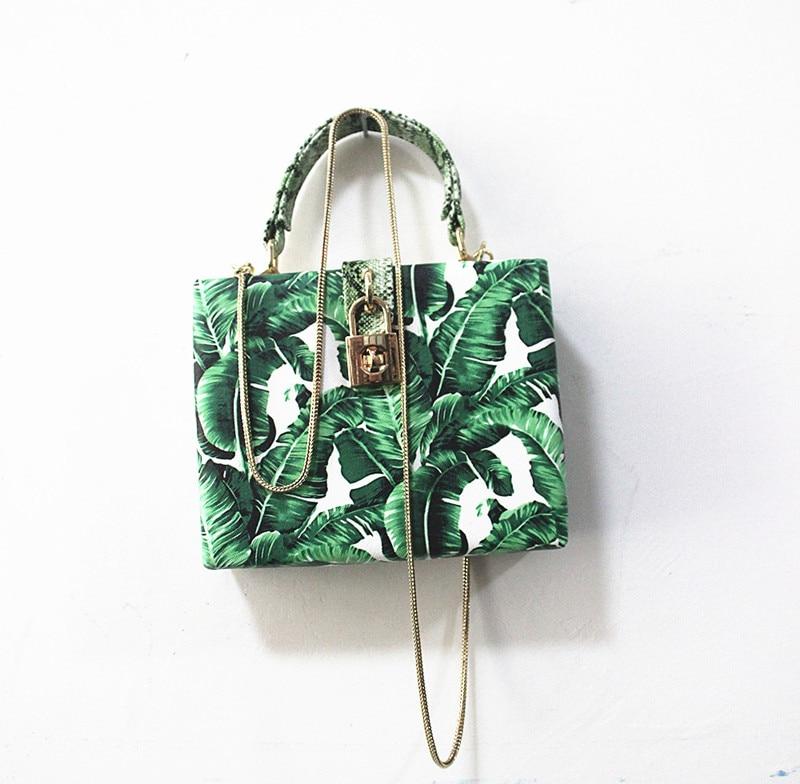 18 Women messenger bags Brand New Elegant Spring Summer Shoulder diagonal Box Bag Woman leave Print art Clutch banquet Handbag 15
