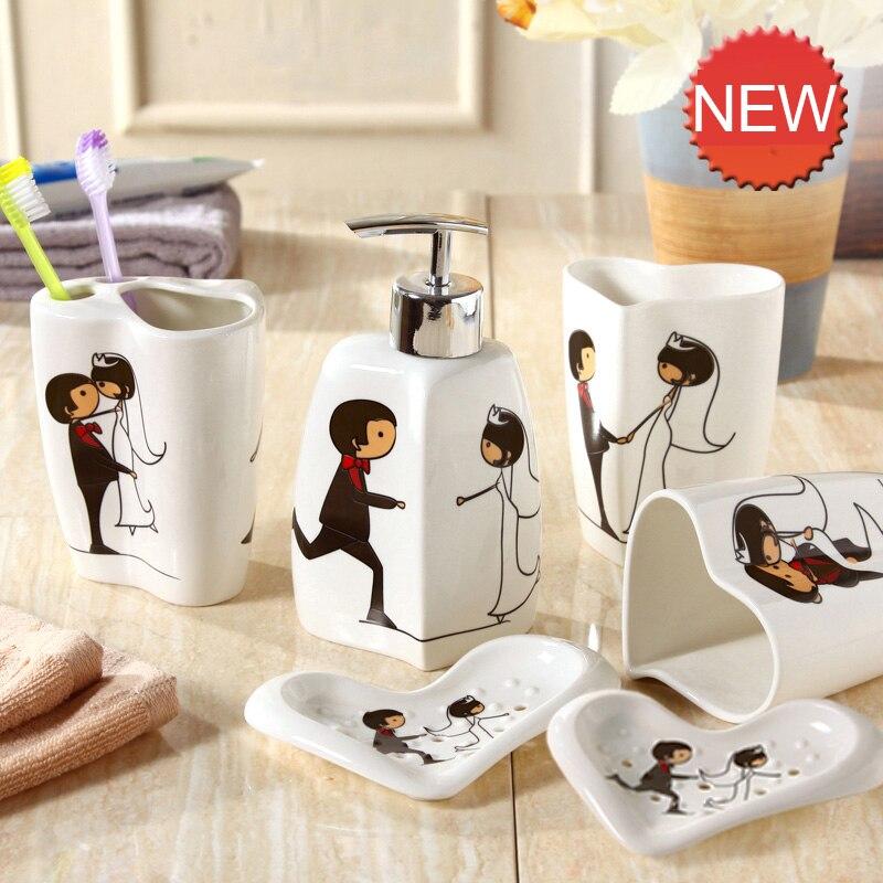 Ensemble de 6 pièces tasses et brosses de lavage | Distributeurs de savon liquide, vaisselle à savon, accessoires de salle de bain en céramique européenne