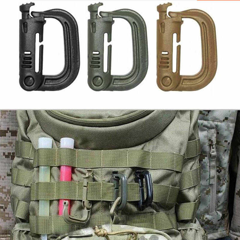 Molle Tactical Backpack Carabiner Outdoor Plastic EDC Shackle Carabiner Practical ABS Snap D-Ring Clip Keyring Locking Ring