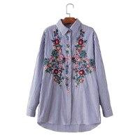 2018 Embroidery Long Sleeve Blouse Shirt Women Tops Elegant Turndown Striped Floral Feminine Blouse Chemise Femme