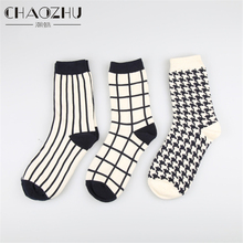 1 Pair Japanese Lattice & Vertical Stripes Harajuku Women/Men Fashion Causal Socks Vintage WEGO Same Type Houndstooth