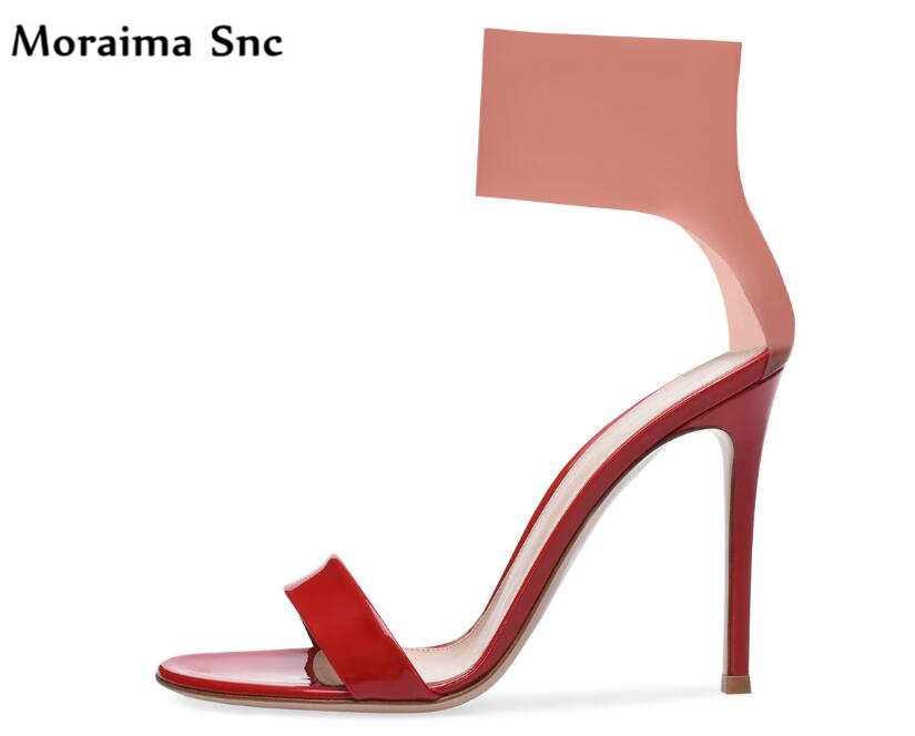 Moraima Snc Newest sexy women Rome type sandals brilliance red open toe PU leather sexy thin high heel female party shoes moraima snc newest sexy women black string bead concise type sandals open toe thin high heel ankle strap hook solid party shoes