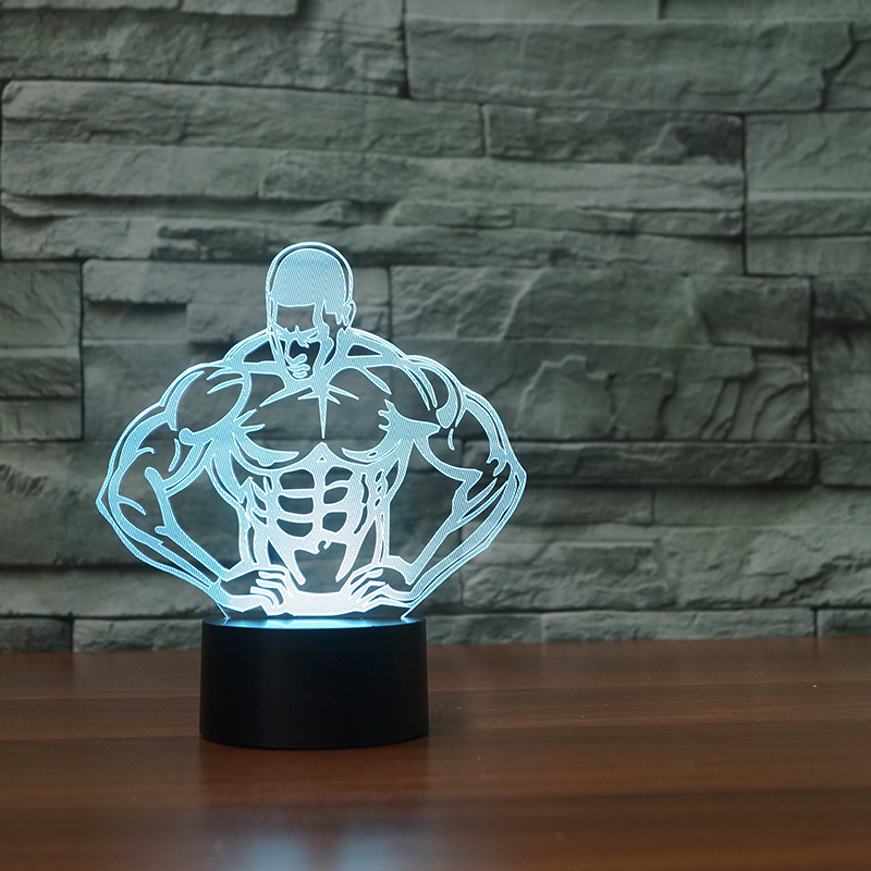3D LED 7 Color changing 5V Night Light strong man decoration Lamp Bulbing Light Acrylic 3D Illusion Desk light