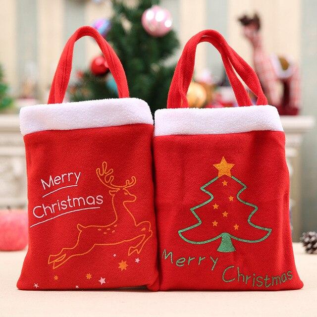 Elf Christmas Gift Bags.Aliexpress Com Buy 1pc Red Color Christmas Gift Bag Sacks Merry Christmas Elf Christmas Tree Print Stuffers Santa Sacks From Reliable Stockings