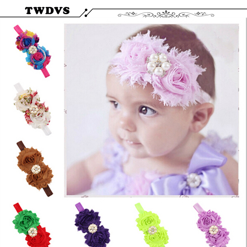TWDVS Baby Girls Elastic Headband Chiffon Flower Head band Newborn Infant Hair Band Kids Baby Hair Accessories  w--104 10pcs lot 2016 new baby girls elastic headband flower head band newborn infant flowers hair band kids baby hair accessories