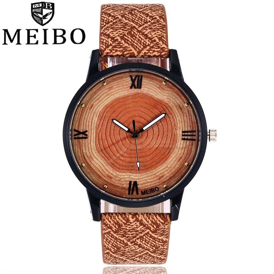 MEIBO Brand New Fashion Wood Watch Women Men Casual Quartz Watch Leather Business Wristwatches Clock Relogio Feminino Gift