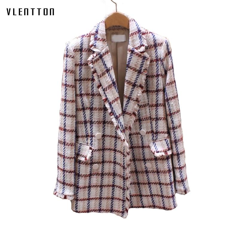 2019 Vintage Tweed Blazer Women Double Breasted Plaid Office Long Blazers Coat Spring Autumn Long Sleeve