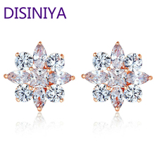 BAMOER Gold Color Stud Earrings with Flower Shape with AAA Zircon For Women Classic Jewelry JIE046