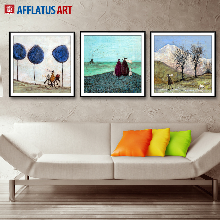 Afflatus canvas painting nordic figure landscape wall for 15x15 living room