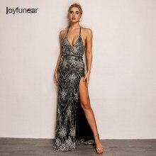 Joyfunear Sexy Women Sequins Long Dress women Backless V-neck Embroidery  Club Party Dresses Maxi side split elegent Vestidos f767e683d371