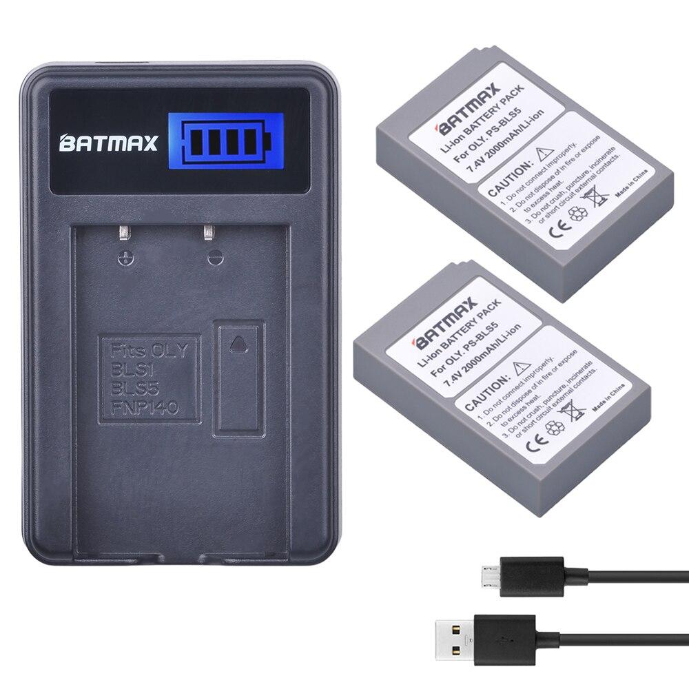 2 Pz Ps-Bls5 BLS-BLS5 BLS 5 Batteria BLS-50 + LCD USB Caricabatteria per Olympus OM-D e-M10, PEN e-PL2, e-PL5,-PL6, E-PM2, Stylus 1