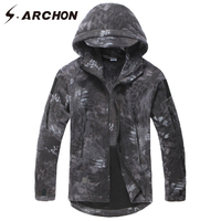 S ARCHON Winter Warm Camouflage Tactical Fleece Jackets Men Casual Thermal Windbreaker Hoodie Polartec Military Camo