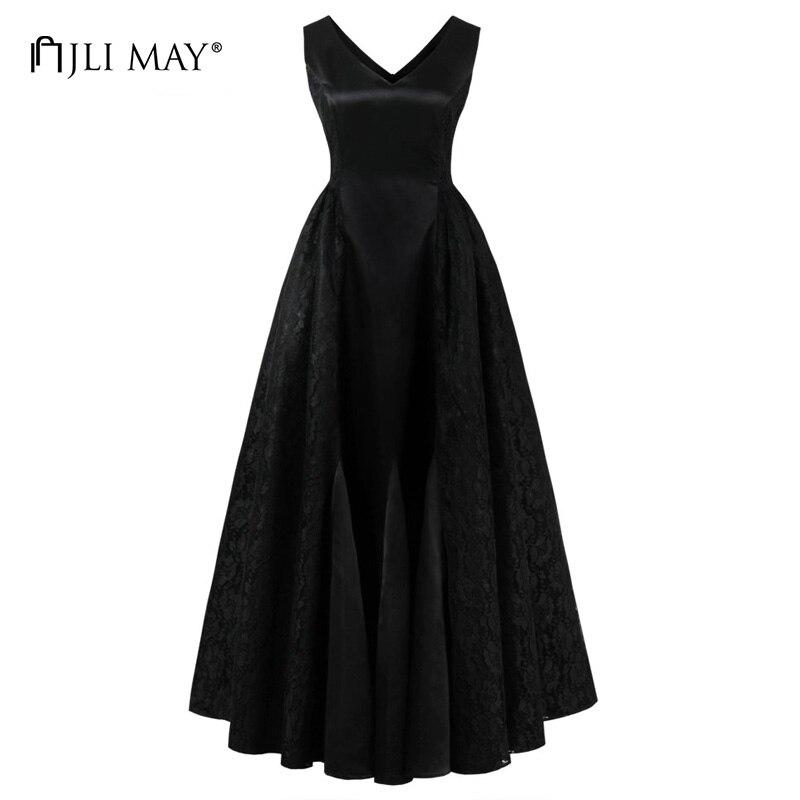 JLI MAY Vintage lace party maxi dress long v neck sleeveless black red retro slim elegant