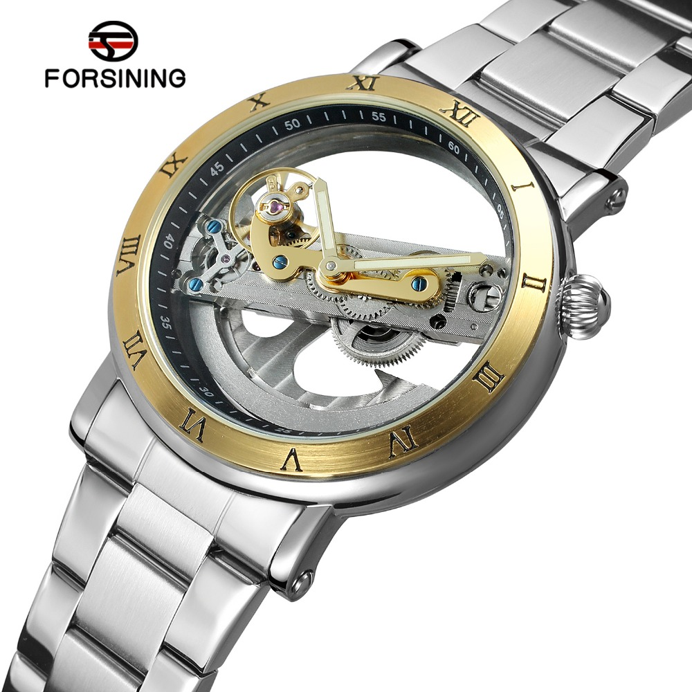 FORSINING Men s Unique New Design Luxury Automatic Movement Popular Style Stainless Steel Bracelet Skeleton Wristwatch