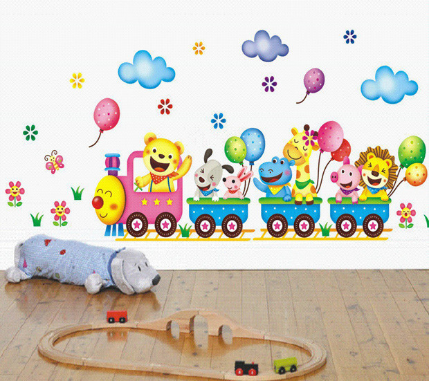 Free shipping DIY Removable Wall Stickers Cartoon Cute Animals Train Balloon Kids Bedroom Home Decor Mural Decal Small Size