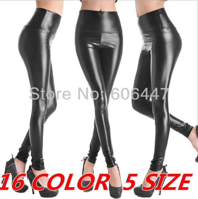 free shipping plus size large size women high waist faux leather leggings stretchy black leggings XS/S/M/L/XL many colors