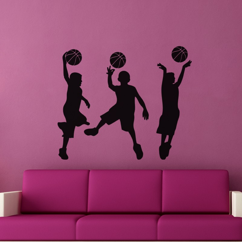 little basket ball players wall stickers sports home decor removable wall decals for kids room sport
