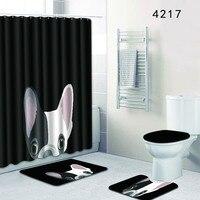 4Pcs Cute Dog Pattern Bathroom Carpets Set Flannel Bath Mat Kit U shape Toilet Rugs Large Shower Curtain Bathroom Accessories