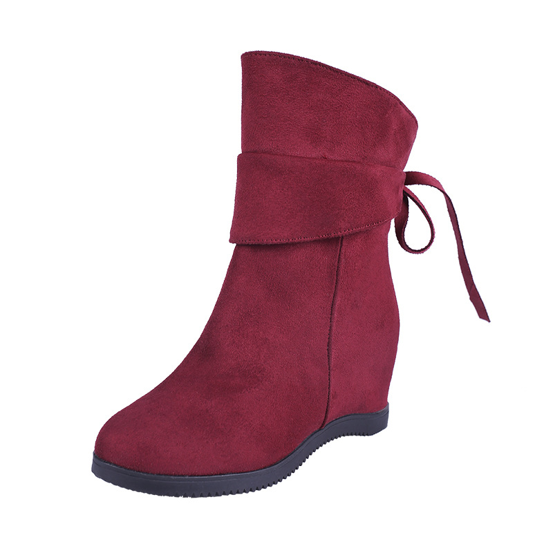 2018 autumn and winter new female round head wedge suede in the tube Martin boots fashion comfortable slim boots red 1006 цена 2017