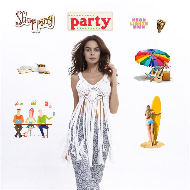 Swimsuit Cover Up Womens Sleeveless Beach Short Dress Tassel Patchwork White/Black Knitting Bathing Suits Sun Protection