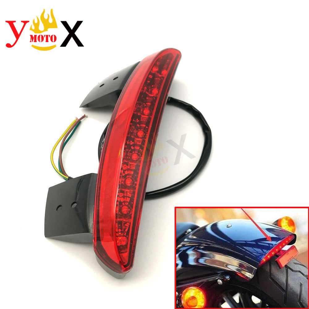 Motorcycle Red Len Tail Light Brake Lamp Stop Indicator Rear Fender Light For Harley Street Bob Sportster XL 1200 883 48 Softail